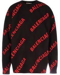 Balenciaga Allover Logo Knit Jumper - Black