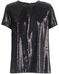 P.A.R.O.S.H. Sequin Embellished Crewneck T-shirt - Black