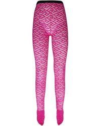 Versace High Waist Monogram Tulle Sheer Tights - Pink