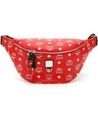 MCM Stark Visetos Belt Bag - Red