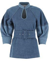 Chloé Denim Belted Puffed Sleeve Top - Blue