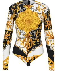Versace Baroque Print Bodysuit - Yellow