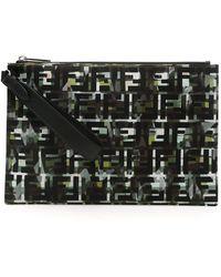 Fendi Ff Camouflage Print Bag - Black