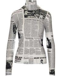 Balenciaga Newspaper Print Turtleneck Top - Multicolour