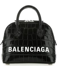 Balenciaga Ville Xxs Croc-embossed Leather Top Handle Tote - Black