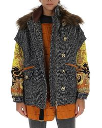 Versace Patchwork Wrap Coat - Multicolour