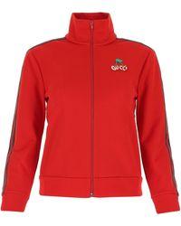 Gucci Cherry Piquet Zip-up Jersey Jacket - Red