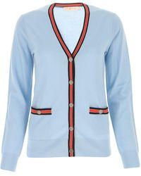 Tory Burch Madeline Contrast Trim Cardigan - Blue