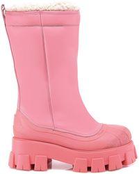 Prada Monolith Shearling Boots - Pink
