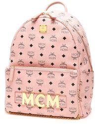 MCM Trilogie Stark Visetos Backpack - Pink