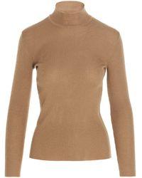 Alberta Ferretti High-neck Knit Sweater - Natural