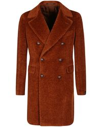 Tagliatore Double Breasted Teddy Coat - Brown