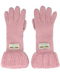 Gucci Logo Knit Gloves - Pink