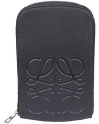 Loewe Anagram Embossed Strapped Case - Black