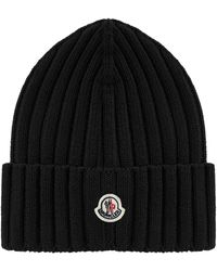 Moncler Logo Patch Ribbed Beanie - Black