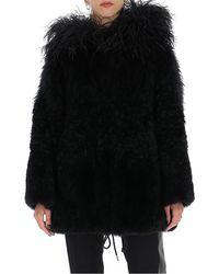 Prada Hooded Fur Coat - Black
