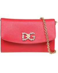 Dolce & Gabbana Crystal Embellished Chain Clutch - Red