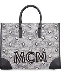 MCM Visetos Top Handle Tote Bag - Grey