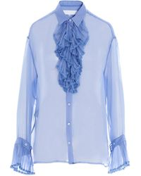 Maison Margiela Ruffled Bib Sheer Shirt - Blue