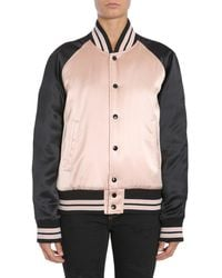 Saint Laurent Contrast Bomber Jacket - Multicolour