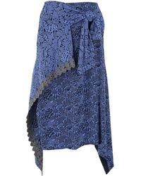 Chloé Asymmetric Wrap Midi Skirt - Blue