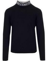 Fendi Lettering Collar Turtleneck Jumper - Black
