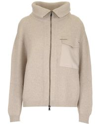 Brunello Cucinelli Ribbed Zip-up Cardigan - Natural