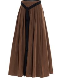 Max Mara Pleated Midi Skirt - Brown