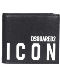 DSquared² Icon Print Bifold Wallet - Black
