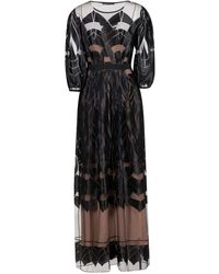 Alberta Ferretti Lace Sheer Maxi Dress - Black