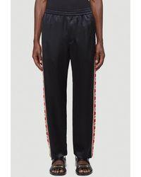 Gucci Acetate Trousers With Interlocking G Stripe - Black