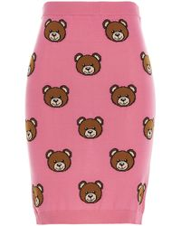 Moschino Allover Teddy Knitted Skirt - Pink