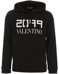 Valentino Logo Print Hoodie - Black