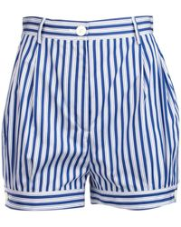 Prada Striped Wide-leg Shorts - Blue