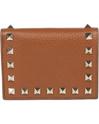 07f4ed7846c0d Valentino Garavani Rockstud Card Holder in Blue - Lyst