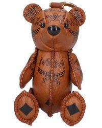 MCM Teddy Bear Logo Keyring - Brown