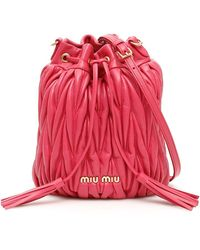 Miu Miu Quilted Bucket Bag - Red