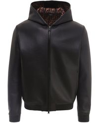 Fendi Leather Jacket With Ff Lining - Black