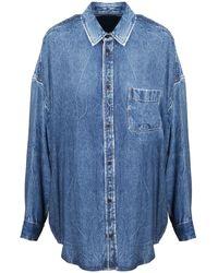 Balenciaga Oversized Denim Shirt - Blue
