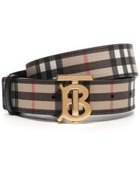 Burberry Tb Buckle Belt - Natural