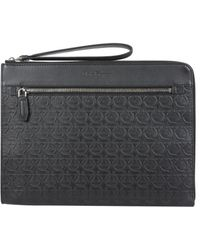 Ferragamo Gancini Clutch Bag - Black