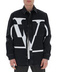 Valentino Logo Denim Jacket - Black