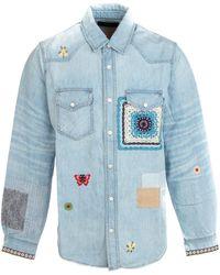 Amiri Patchwork Denim Shirt - Blue