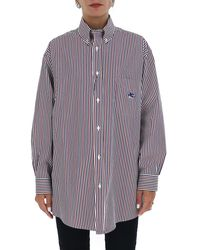 Etro Logo Embroidered Striped Oversized Shirt - Multicolor