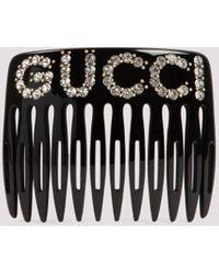 Gucci Crystal Embellished Hair Comb - Black