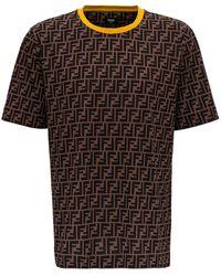 Fendi All-over Logo T-shirt - Brown