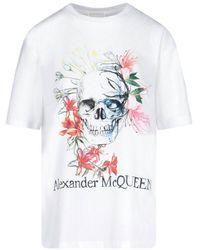 Alexander McQueen Skull Printed T-shirt - White
