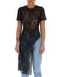 Alexander McQueen Asymmetric Lace Blouse - Black