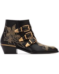 Chloé Leather Gold Studs Suzanna Ankle Boots/booties - Black
