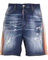 DSquared² Two-tone Denim Shorts - Blue